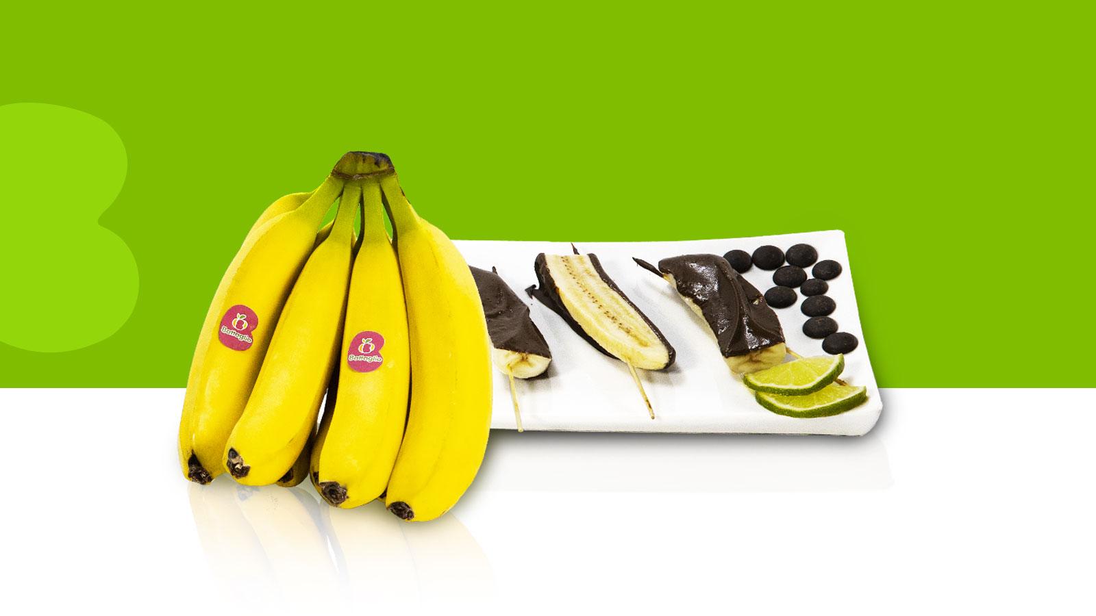 Spiedini di banana al cioccolato